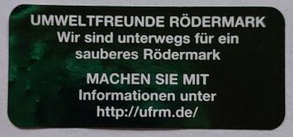 Aufkleber der Umweltfreunde Rödermark für z.B. Müllsäcke